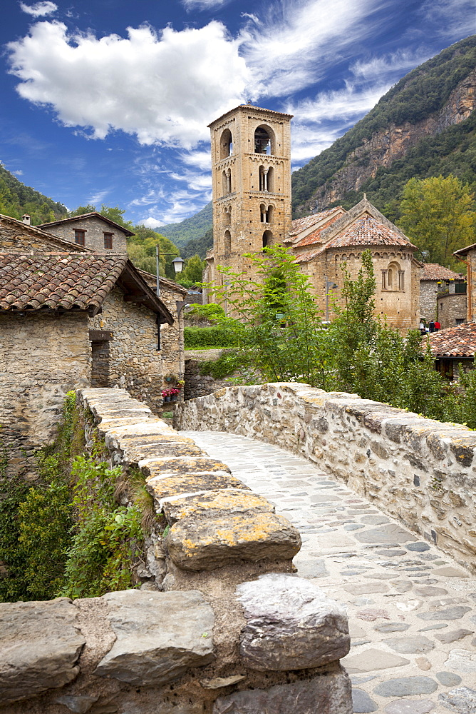 Parish church of Sant Cristofor and surrounding town, Beget, Catalonia, Spain, Europe - 10-441