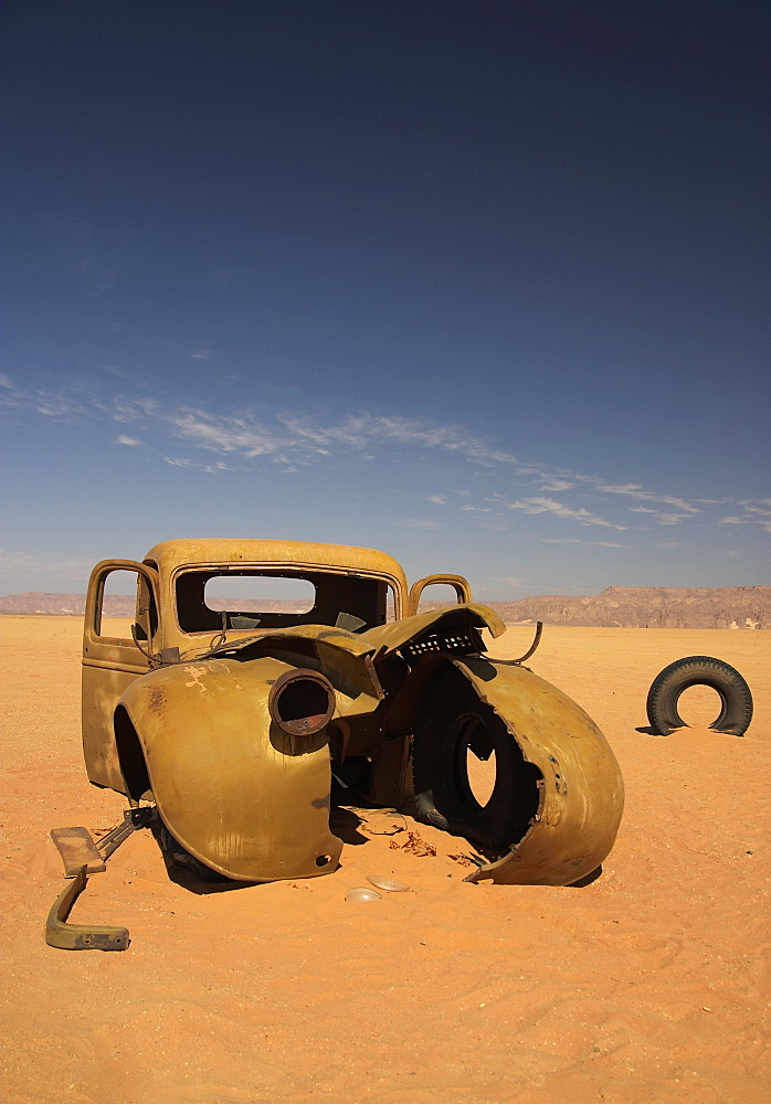 Lorry left behind by the British Military (LRDG) during WWII in the Gilf Kebir, Sahara Desert - 1005-114