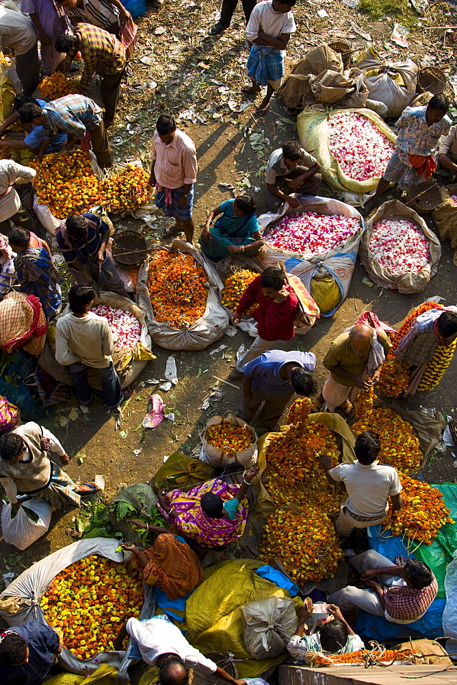 Traders sell ceremonial flowers at the Kolkata Flower Market, West Bengal, India - 1005-36