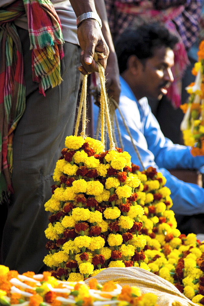Traders sell ceremonial flowers at the Kolkata Flower Market, West Bengal, India - 1005-39