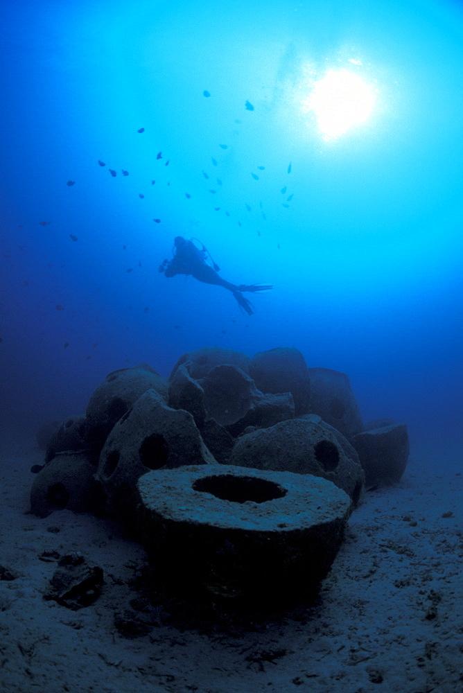 Concrete Reef Balls, Artificial Reef & diver. Manado, North Sulawesi, Indonesia