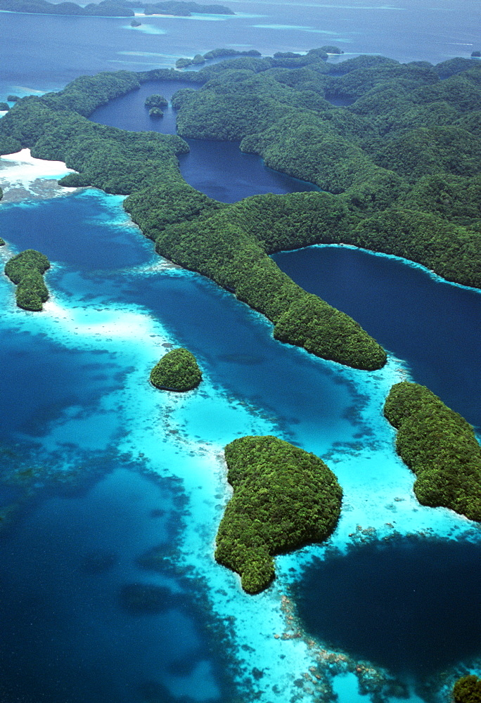 Aerial of lagoons, and reefs.Micronesia