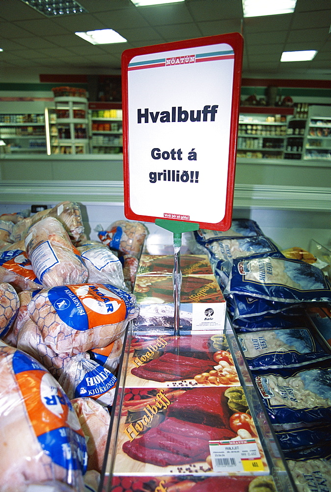 Locally caught whale meat (Hvalbuff) in Reykjavik flea market (2004) after the resumption of commercial whaling in Iceland. - 1036-222
