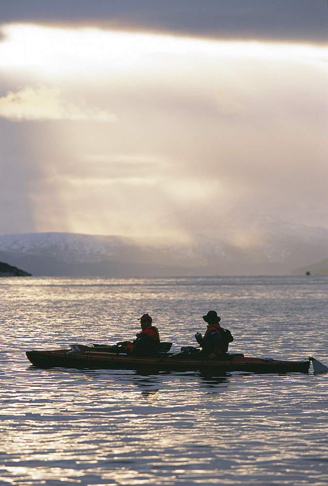 Whale-watchers in double kayak following orca up a fjord, during the herring run in November. Tysford, northern Norway.