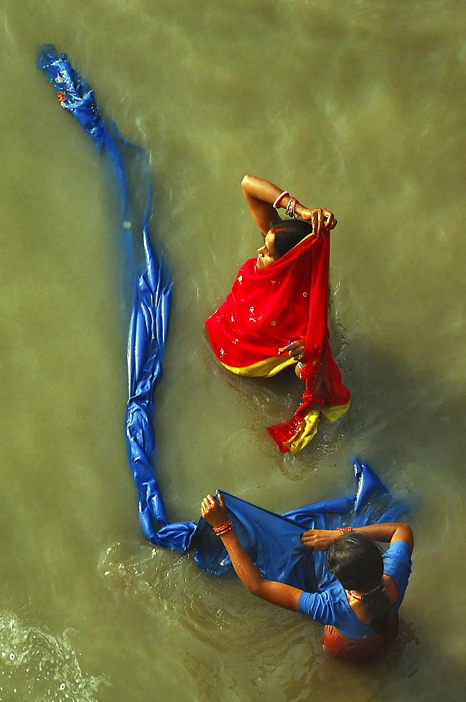 Indian women bathing in the river , Sonepur, Bihar, India - 1068-17