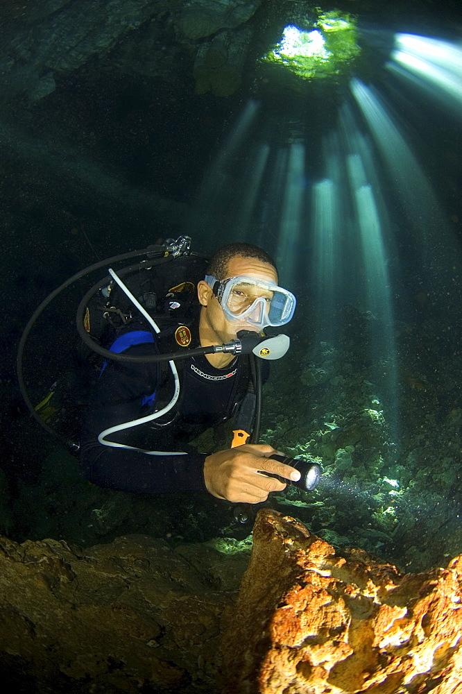 Diver in cave, Dominican Republic - 1072-40