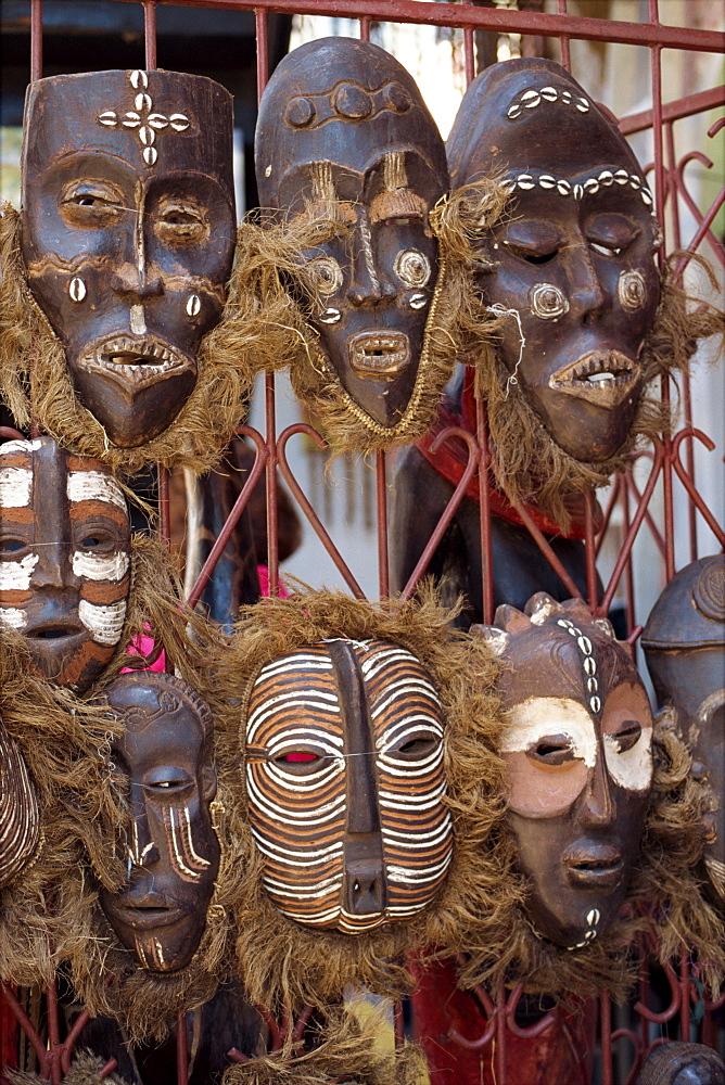 Masks for sale in market, Mombasa, Kenya, East Africa, Africa