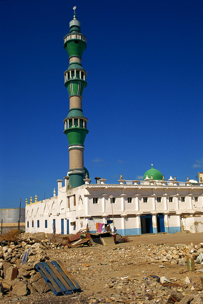 Mosque with green minaret, Djibouti, Africa