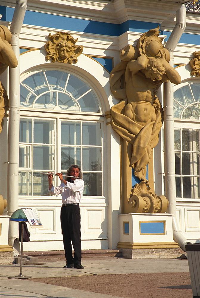 Musician outside Catherine's Palace, Pushkin, Russia, Europe