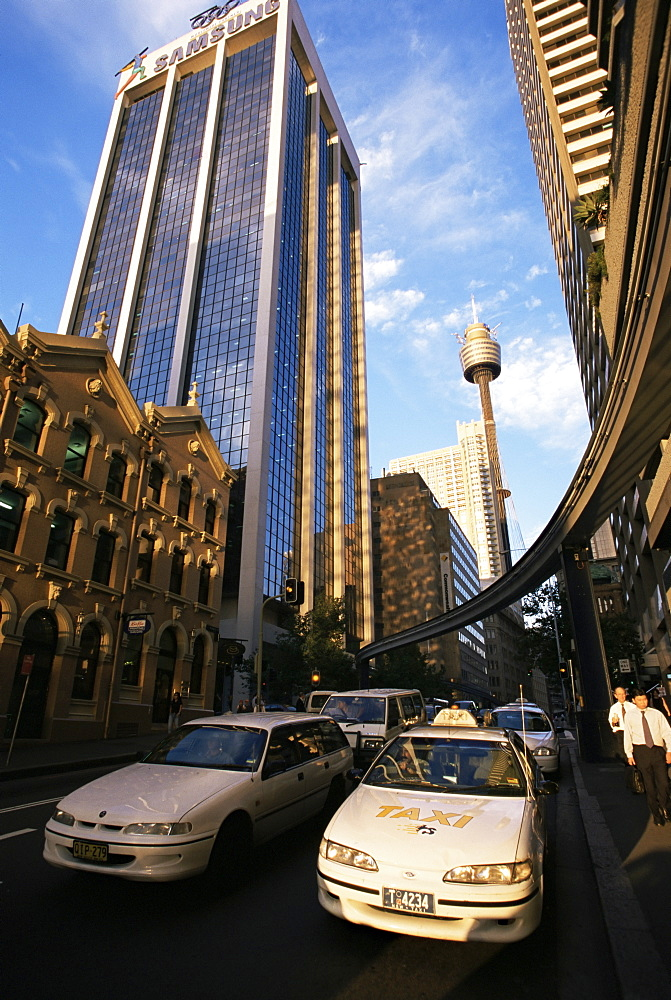 View to AMP Tower from Market Street, Sydney, New South Wales, Australia, Pacific