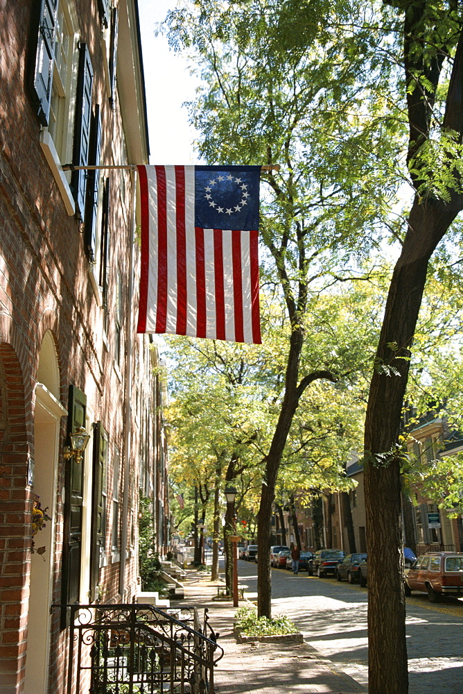 Historic flag, Society Hill, Philadelphia, Pennsylvania, United States of America (U.S.A.), North America