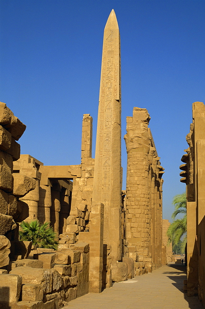 Temple of Karnak with Obelisk of Tuthmosis dating from the 15th century BC, Karnak, near Luxor, Thebes, UNESCO World Heritage Site, Egypt, North Africa, Africa