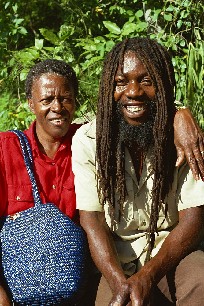 Rastafarian and friend, Charlotte Amalie, St. Thomas, U.S. Virgin Islands, West Indies, Caribbean, Central America - 110-8162
