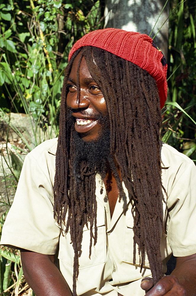 Portrait of a Rastafarian, Charlotte Amalie, St. Thomas, Virgin Islands, West Indies, Caribbean, Central America