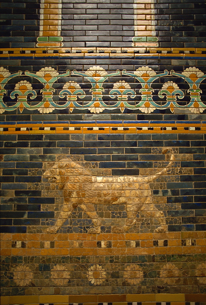 Glazed tiles of Nebuchadnezzar's Babylon, Pergamon Museum, Berlin, Germany, Europe
