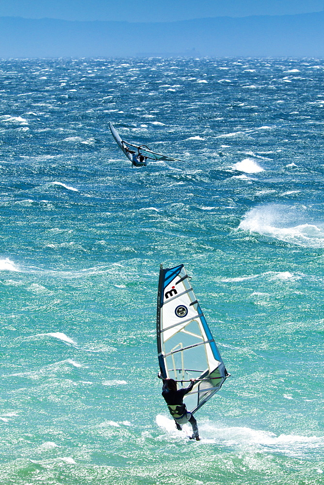 Big Jump windsurfing in high Levante winds in the Strait of Gibraltar, Valdevaqueros, Tarifa, Andalucia, Spain, Europe - 1102-25