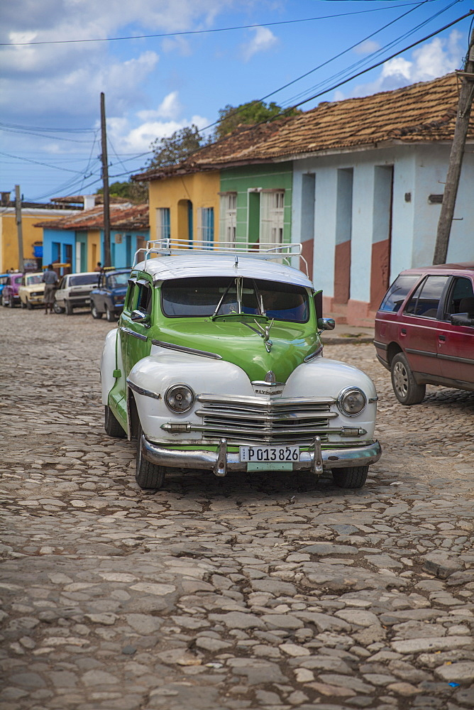 Classic American car in historical center, Trinidad, Cuba, West Indies, Caribbean, Central America
