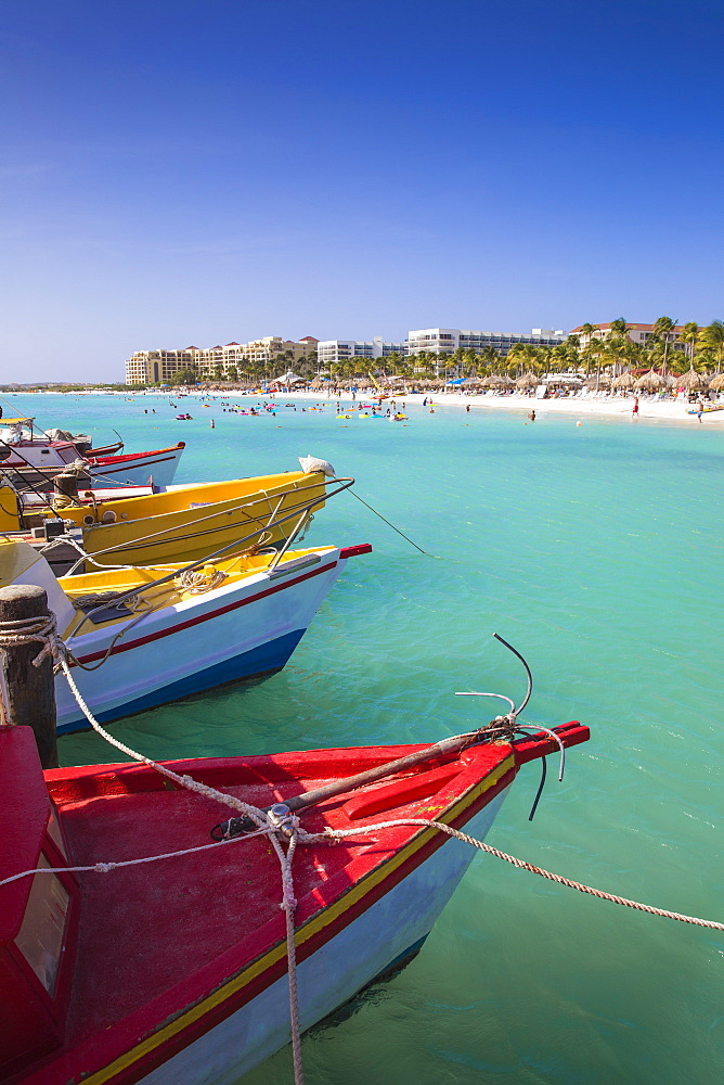 Boats at Fishermans Pier, Palm Beach, Aruba, Netherlands Antilles, Caribbean, Central America