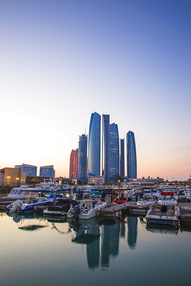 View of Etihad Towers, Abu Dhabi, United Arab Emirates, Middle East