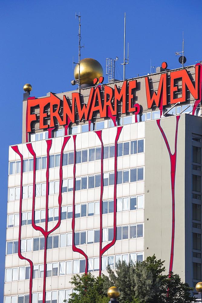 Fernwarme power plant, facade redesigned by eco-architect Friedensreich Hundertwasser, Spittelau, Vienna, Austria, Europe