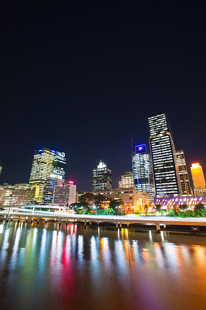 Brisbane skyline at night reflected in Brisbane River, Brisbane, Queensland, Australia, Pacific