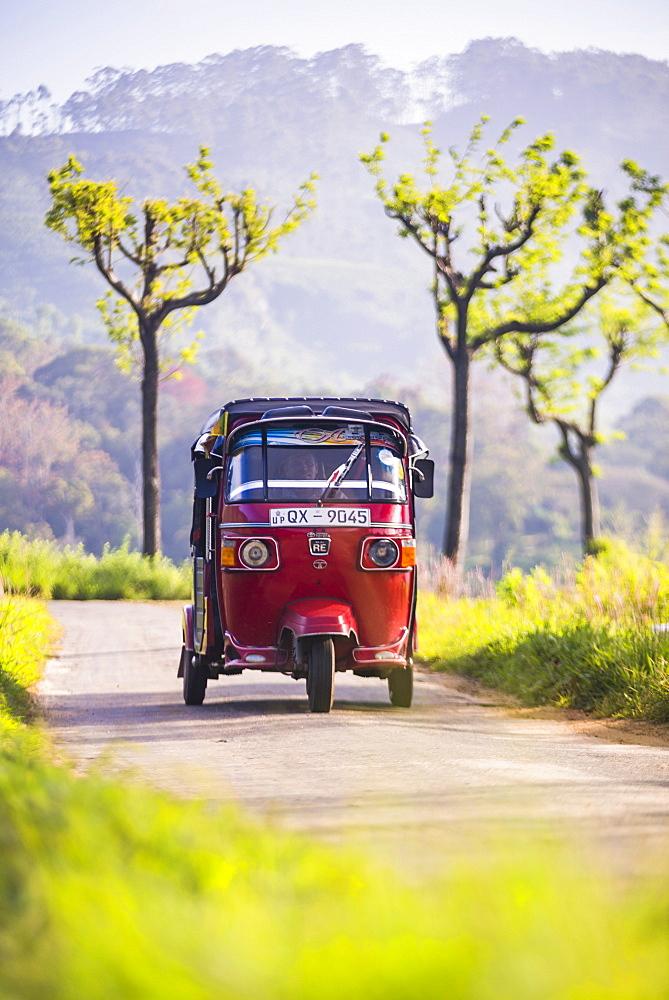 Tuktuk in the Sri Lanka Hill Country, Haputale, Nuwara Eliya District, Sri Lanka, Asia