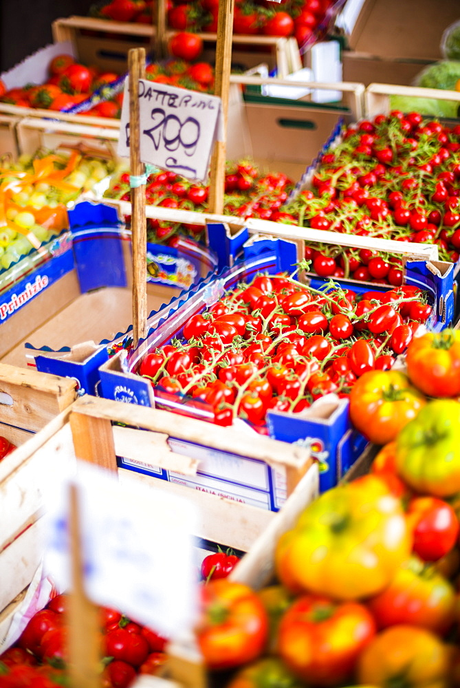 Tomatoes for sale at Capo Market, a fruit, vegetable and general food market in Palermo, Sicily, Italy, Europe
