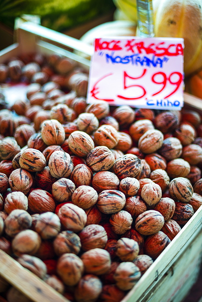 Walnuts for sale at Capo Market, a fruit, vegetable and general food market in Palermo, Sicily, Italy, Europe