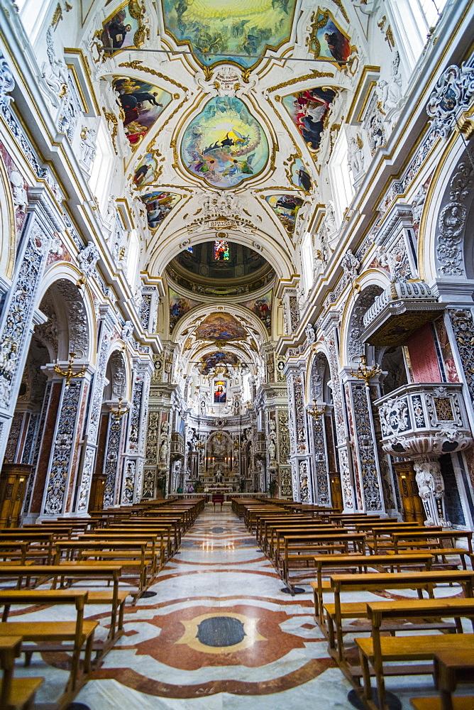 Interior of The Church of Saint Mary of Gesu (Chiesa del Gesu) (Casa Professa), Palermo, Sicily, Italy, Europe