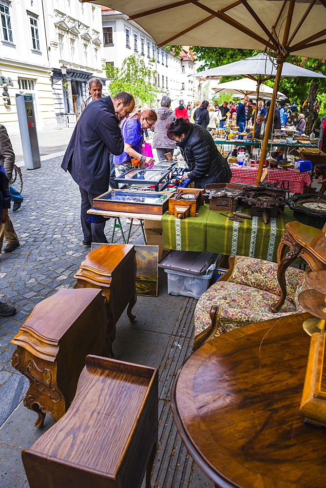 Ljubljana Sunday antiques and flea market held on the Breg Embankment in the centre of Ljubljana, Slovenia, Europe