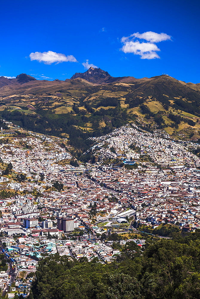 Quito, with Pichincha Volcano in the background, Ecuador, South America