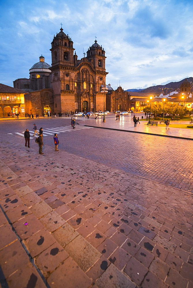 Church of the Society of Jesus in Plaza de Armas at night, UNESCO World Heritage Site, Cusco (Cuzco), Cusco Region, Peru, South America