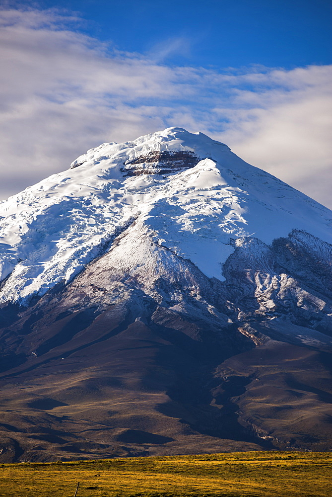 Cotopaxi Volcano glacier covered 5897m summit, Cotopaxi National Park, Cotopaxi Province, Ecuador, South America