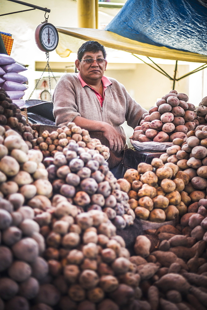 Portrait of potato vendor at his market stall at San Camilo Market (Mercado San Camilo), Arequipa, Peru, South America