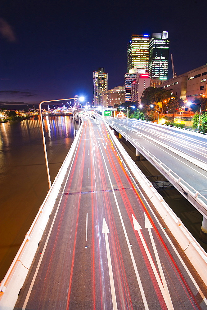 Car light trails at night on a highway in Brisbane, Queensland, Australia, Pacific