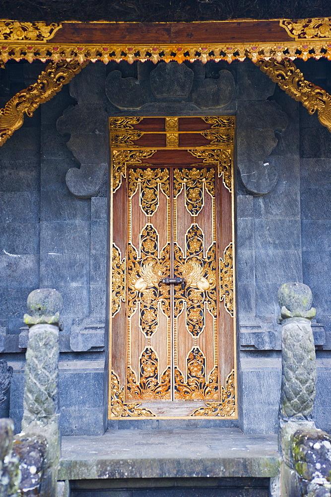 Beautiful gold door at Besakih Temple (Pura Besakih), Bali, Indonesia, Southeast Asia, Asia