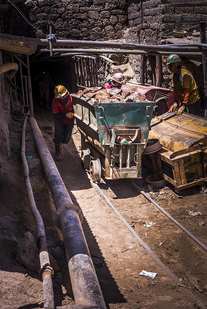 Miners mining at Potosi silver mines, Department of Potosi, Bolivia, South America
