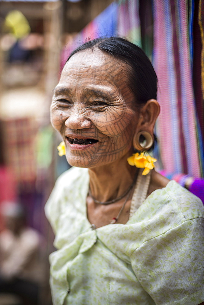 Tattooed woman of a Chin Tribe Village, Chin State, Myanmar (Burma), Asia