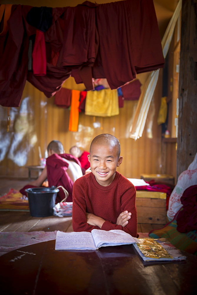 Novice Buddhist monk at a Buddhist monastery at Inle Lake, Shan State, Myanmar (Burma), Asia