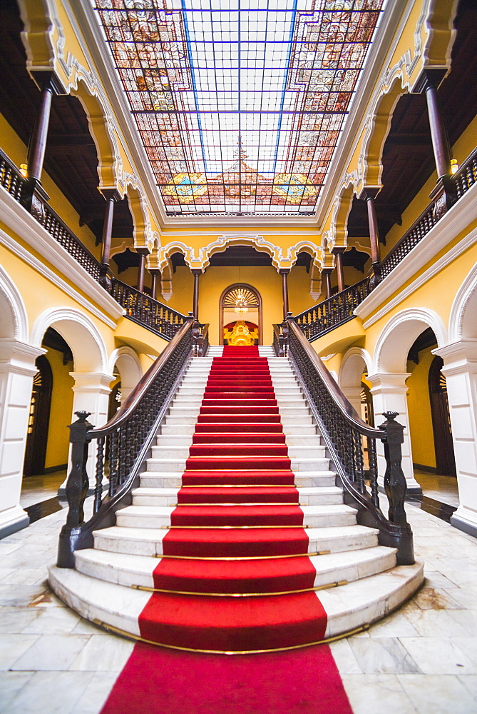 Colonial staircase at Archbishops Palace in Lima, Peru, South America