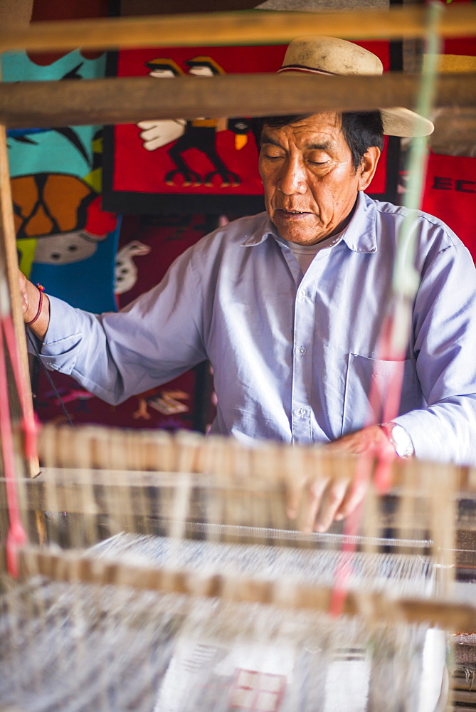 Weaver at San Antonio de Pichincha, Quito, Ecuador, South America