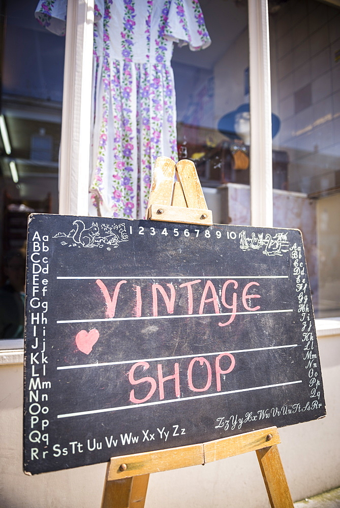 Vintage clothes shop at Broadway Market, Hackney, London, England, United Kingdom, Europe