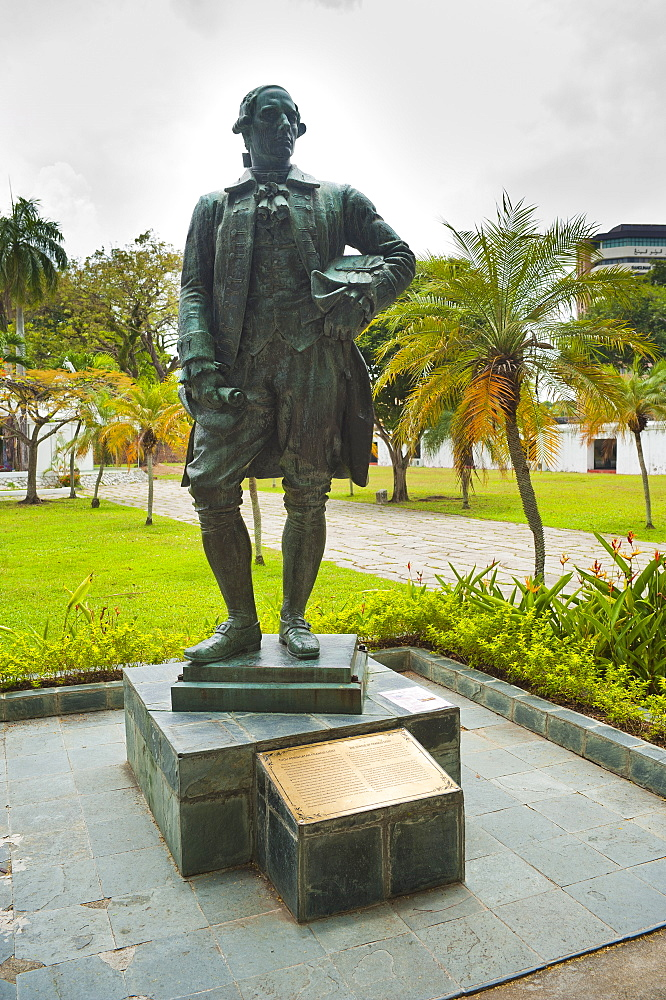 Captain Francis Light statue at Fort Cornwallis in Georgetown, Penang, Malaysia, Southeast Asia, Asia