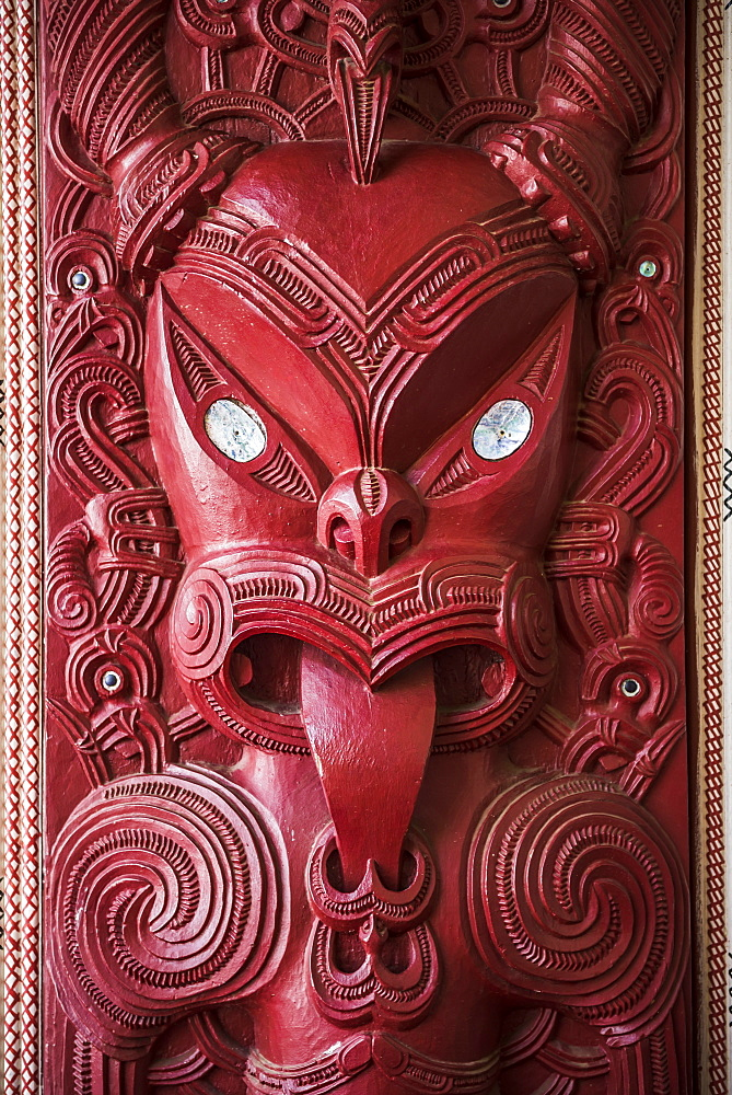 Wooden carving at a Maori Meeting House, Waitangi Treaty Grounds, Bay of Islands, Northland Region, North Island, New Zealand, Pacific - 1109-2850