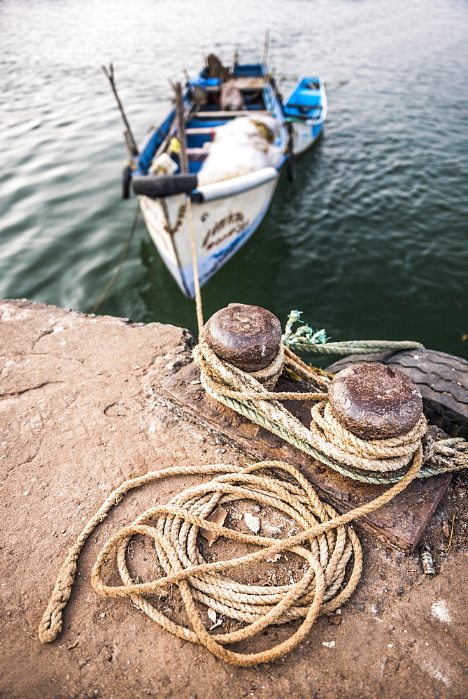 Fishing boats in a port at Talpona Beach, South Goa, India