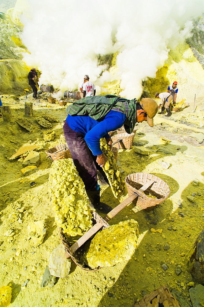 Sulphur miner working at Kawah Ijen, Java, Indonesia, Southeast Asia, Asia