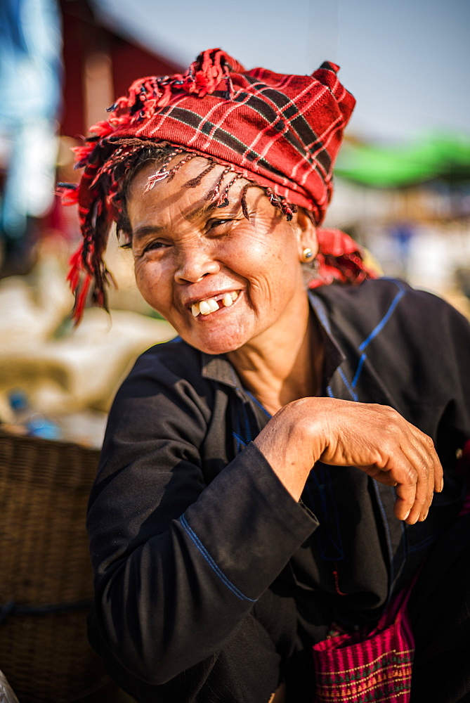 Portrait of Pa-O woman at Ywama Market, Inle Lake, Shan State, Myanmar (Burma) - 1109-3658