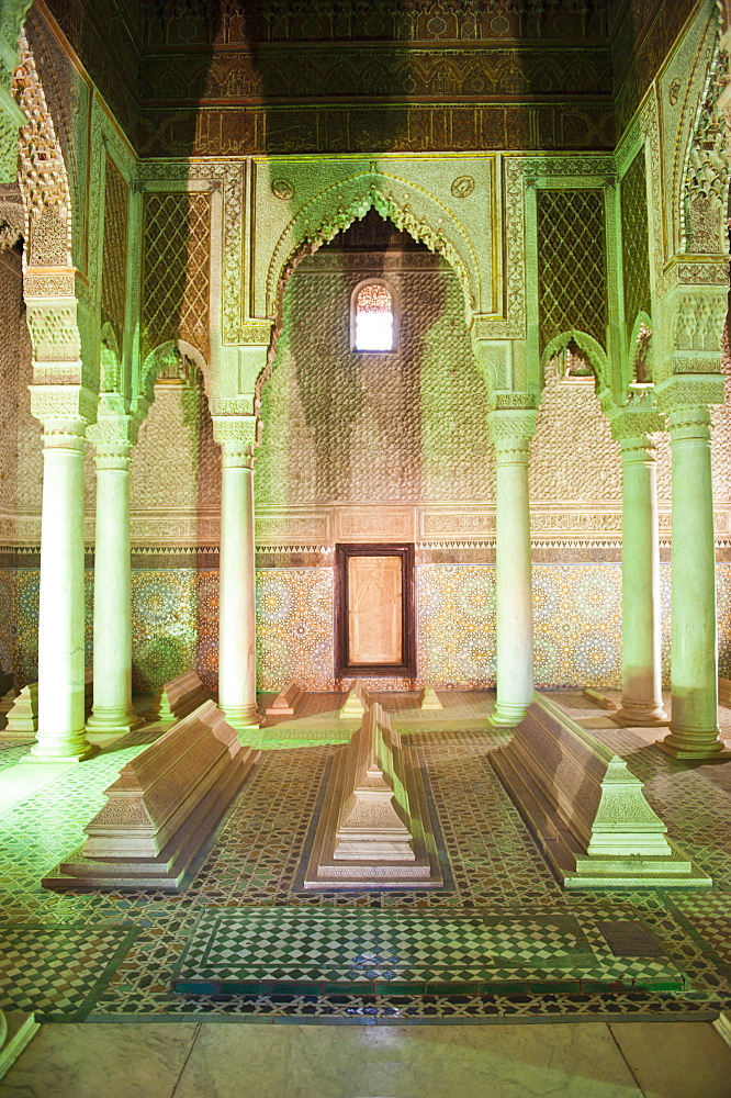 Interior of the Saadien Tombs, Marrakech, Morocco, North Africa, Africa