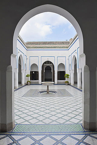 Courtyard at El Bahia Palace, Marrakech, Morocco, North Africa, Africa