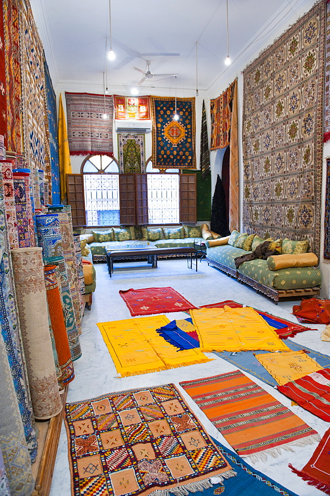 Carpet shop in Marrakech souks, Morocco, North Africa, Africa